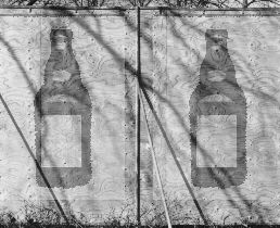 photomontage hoarding/ beer bottles