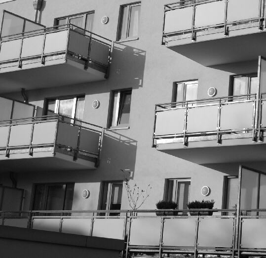 Balconies at the rear of a modern housing complex