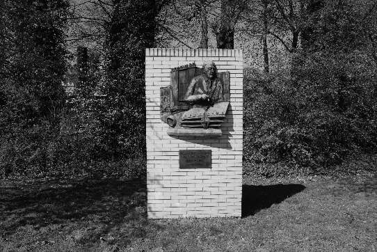 a monument in memory of Carl F.W. Borgward and the big former automobile plant named after him, Bremen