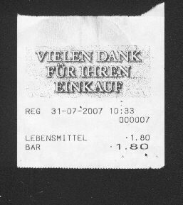 Receipt of the Russian shop