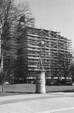 scaffolded tower block