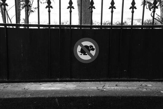 prohibition sign at a fence